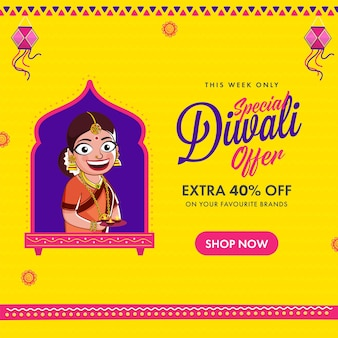 Diwali sale poster design met 40% kortingsaanbieding en indiase vrouw met plaat van verlichte olielamp (diya) op gele achtergrond.