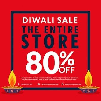 Diwali seizoen verkoop banner korting en behandelt twee diya