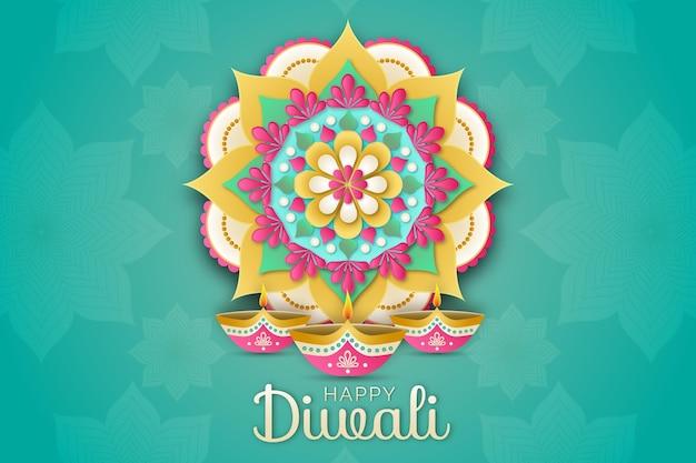 Diwali-traditie in papieren stijl