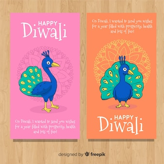 Diwali-uitnodiging met pauwontwerp