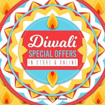 Diwali vakantie speciale aanbieding in de hand getekende banner