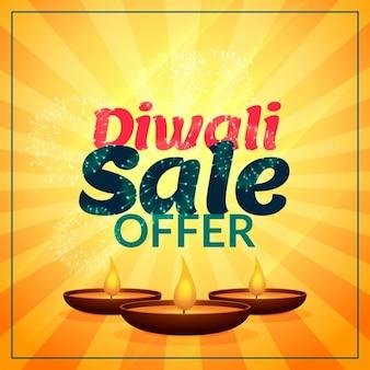 Diwali verkoop aanbod met drie diya