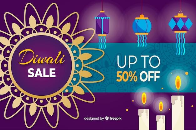 Diwali verkoop concept met platte ontwerp achtergrond