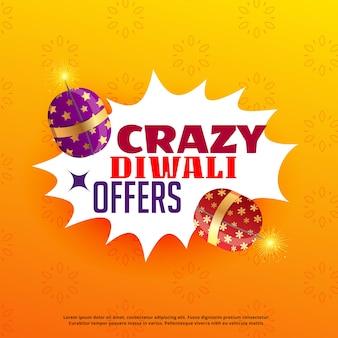 Diwali verkoop en biedt affiche design met festival crackers