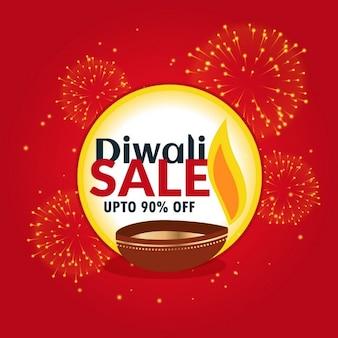 Diwali verkoop en korting banner met vuurwerk en diya