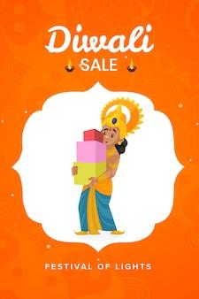 Diwali verkoop flyer en poster op oranje achtergrond