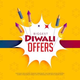 Diwali verkoop gele achtergrond met crackers