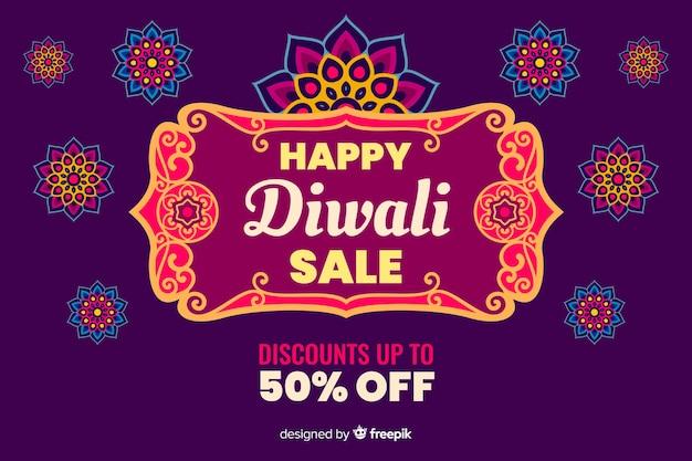 Diwali verkoop in plat ontwerp