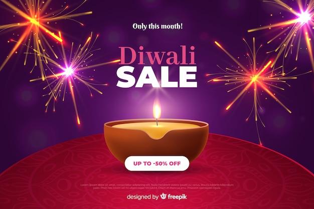 Diwali-verkoop in realistisch ontwerp