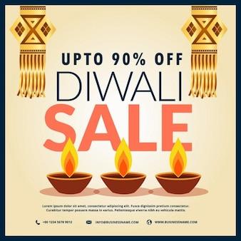 Diwali verkoop korting banner met drie diya en opknoping lampen