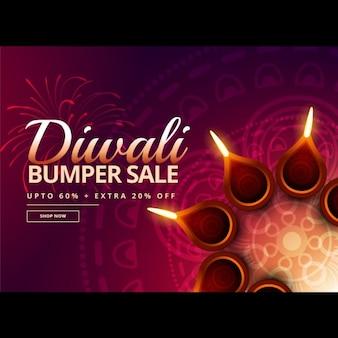 Diwali verkoop met diya decoratie