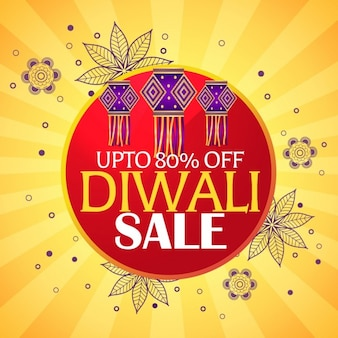 Diwali verkoop mooie achtergrond met opknoping lampen en paisley decoratie