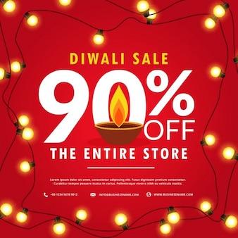 Diwali verkoop poster en banner met lichten op rode achtergrond