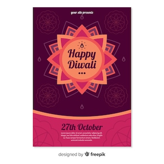 Diwali verkoop poster sjabloon in plat ontwerp
