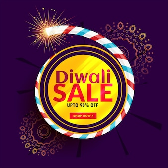 Diwali verkoop posterontwerp met cracker