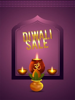 Diwali-verkoopachtergrond met creatieve diwali-diya en achtergrond