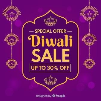 Diwali verkoopconcept in plat ontwerp