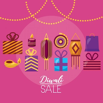 Diwali-verkoopkaart met lampen die viering hangen