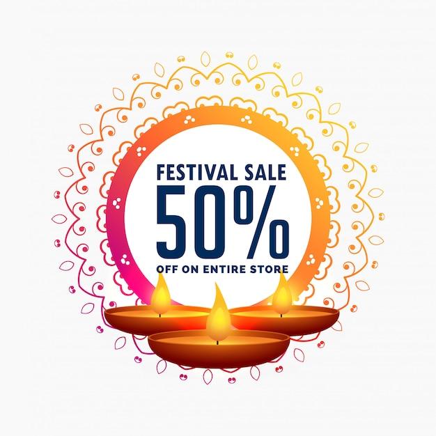 Diwali verkoopsjabloon met brandende diya