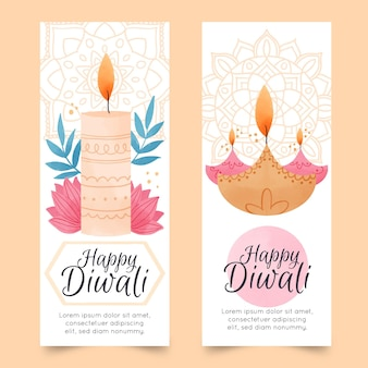 Diwali verticale aquarel banners