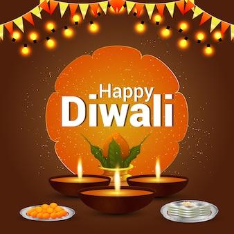 Diwali-viering creatieve achtergrond en diya