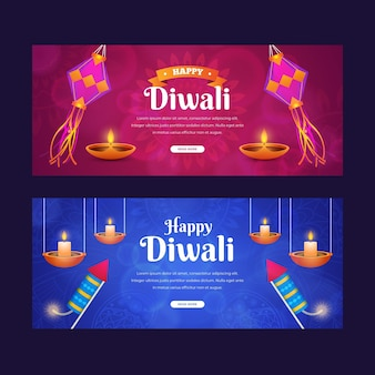 Diwali viering horizontale banners stijl