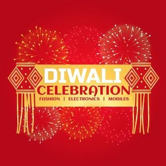Diwali viering verkoop banner met vuurwerk en opknoping lampen