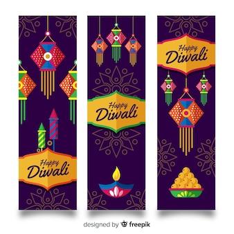 Diwali webbanner collectie met plat ontwerp