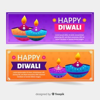 Diwali webbanners in plat ontwerp