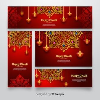 Diwali webbanners realistisch ontwerp