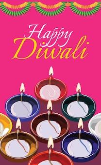 Diwali-wenskaart met traditionele verlichte olie-kleilamp of diya