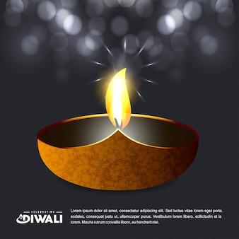 Diwaliontwerp met donkere achtergrond en typografievector