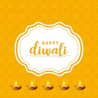 Diwaliontwerp met gele achtergrond en typografievector