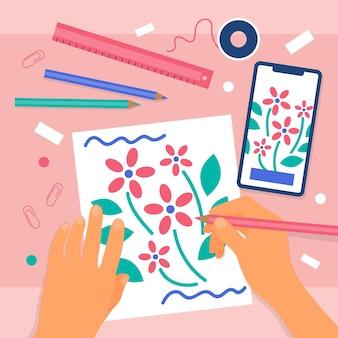 Diy creatieve workshop geïllustreerd