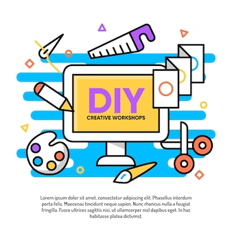 Diy creatieve workshop illustratie