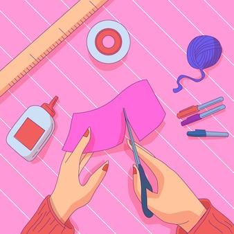 Diy creatieve workshop met vrouw snijden materiaal
