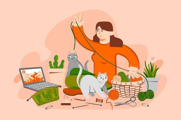 Diy creatieve workshop met vrouw