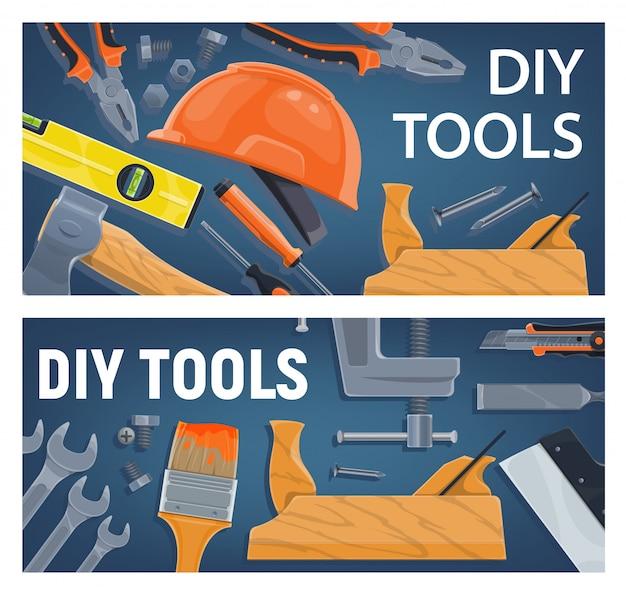 Diy en constructie, gereedschap voor houtbewerking. tang en moersleutel, lampniveau en bijl, schroevendraaier, helm en handpuzzel, kwast en plakmes, beitel en bankschroef. diy-gereedschappen en -apparatuur
