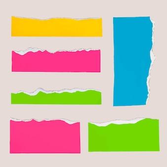 Diy gescheurd papier ambachtelijke vector in kleurrijke stijlenset
