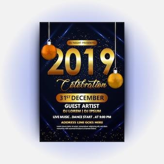 Dj-clubaffiche van gelukkig nieuw jaar 2019