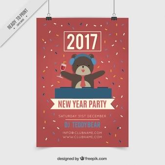 Dj dragen nieuwe jaar grappige poster