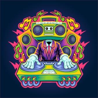 Dj electro muziek illustratie