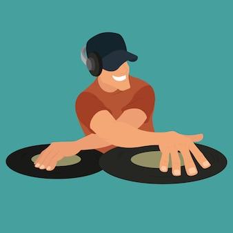 Dj feest. dj en zijn apparatuur, dansmuziek.