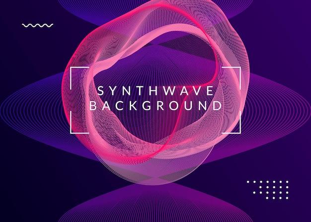 Dj-feestje. dynamische vloeiende vorm en lijn. geometrisch discotheek tijdschrift concept. neon dj-feestvlieger. electro-dansmuziek. techno-trance. elektronisch geluidsevenement. clubfeest poster.