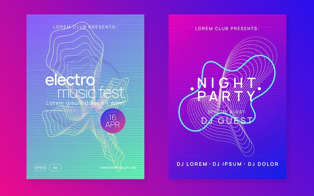 Dj-feestje. dynamische vloeiende vorm en lijn. moderne showcoverset. neon dj-feestvlieger. electro-dansmuziek. techno-trance. elektronisch geluidsevenement. clubfeest poster.
