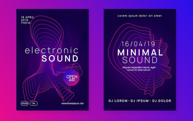 Dj-feestje. trendy showbannerset. dynamische gradiëntvorm en lijn. neon dj-feestvlieger. electro-dansmuziek. techno-trance. elektronisch geluidsevenement. clubfeest poster.