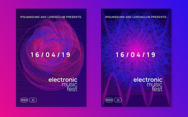 Dj-flyer. dynamische vloeiende vorm en lijn. digitale discotheek brochure set. neon dj-flyer. electro-dansmuziek. elektronisch geluidsevenement. clubfeest poster. techno trance feest.