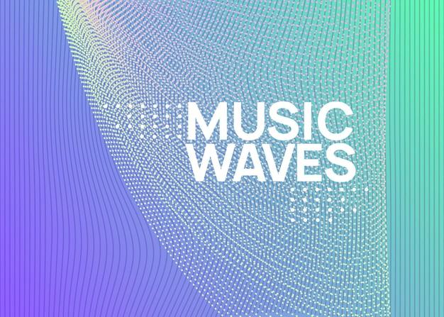 Dj-flyer. dynamische vloeiende vorm en lijn. moderne discotheek brochure concept. neon dj-flyer. electro-dansmuziek. elektronisch geluidsevenement. clubfeest poster. techno trance feest.