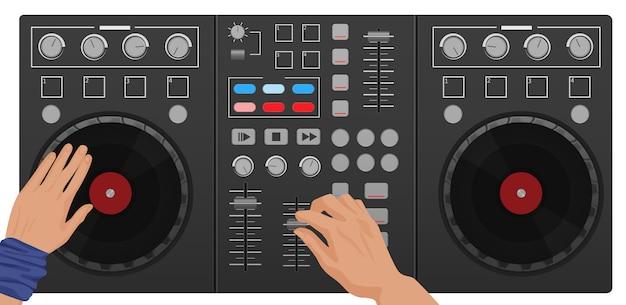 Dj-handen spelen vinyl bovenaanzicht
