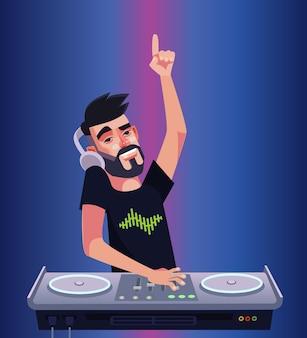 Dj jongen man karakter mixer muziek maken en plezier maken. nachtclub disco bar geïsoleerde cartoon afbeelding